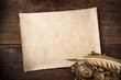 canvas print picture - old writer desk with parchment