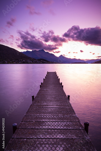 Printed kitchen splashbacks Eggplant wooden pier on Lake