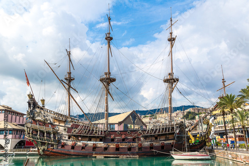 Photo Stands Ship Old wooden ship in Genoa, Italy