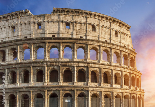 Colosseum (Colosseo) in Rome, Italy during sunset #94214481