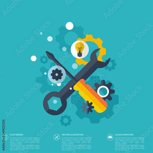 Flat repair icon. Mechanic service concept.  Web site creating. Fototapeta