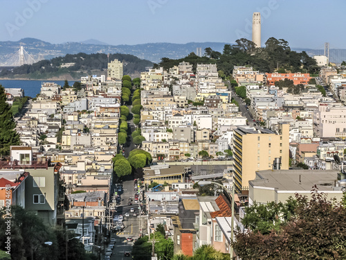 Valokuva  View of Telegraph Hill and North Beach district from Van Ness Avenue, San Franci