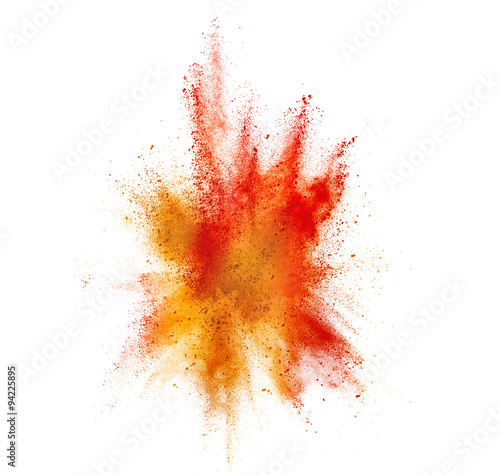 Obraz na plátně explosion of colored powder isolated on white