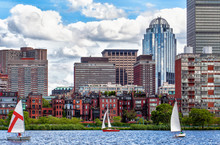 Boston Skyline Viewed From The Charles River With Sailboats
