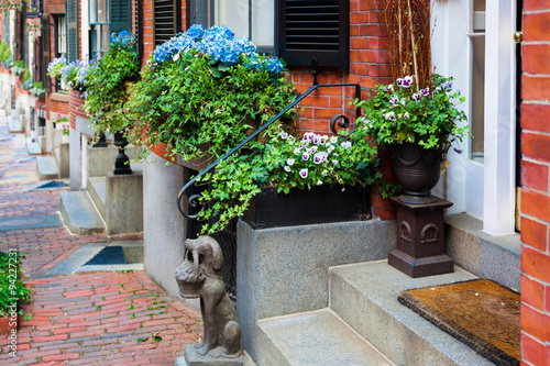 Boston Flower Window Boxes Decorating A Row Of Classic Red Brick