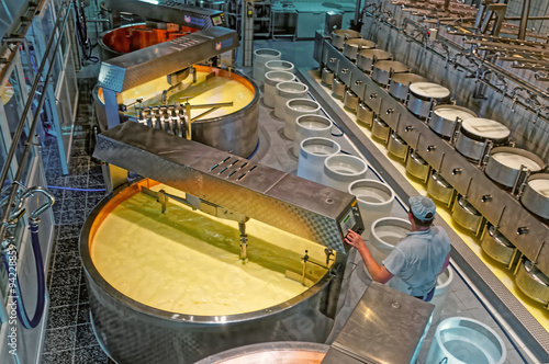 Worker of the cheese-making factory checking the temperature in