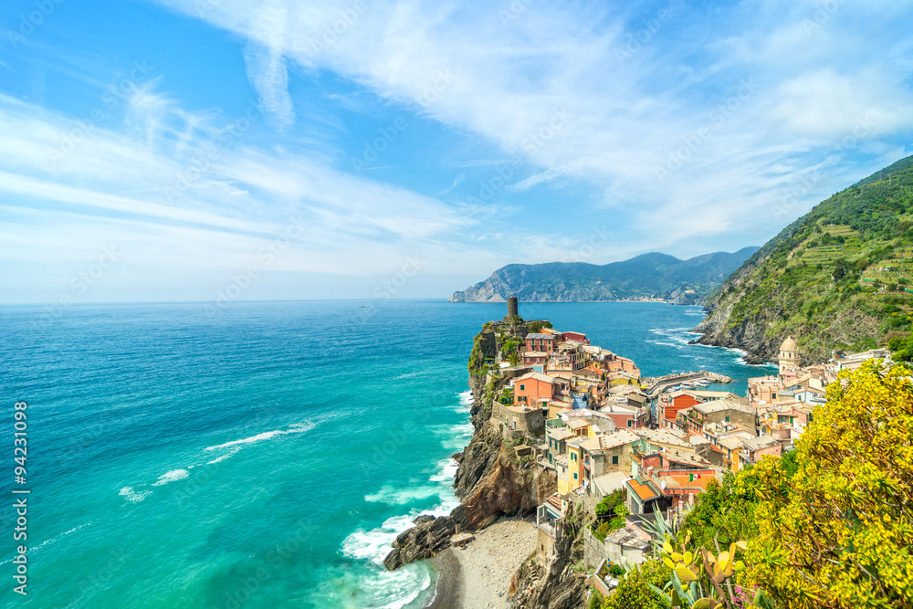 Fototapeta Colorful town on the rocks Liguria Italy