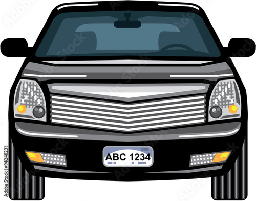 Fotografie, Obraz  Black SUV front view vector
