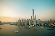 Panorama view of Shanghai city scape in sunset time.