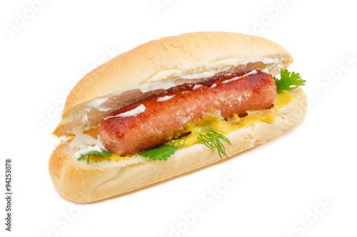 Hot dog on a light background