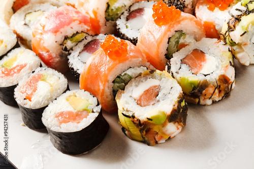 fototapeta na lodówkę sushi set
