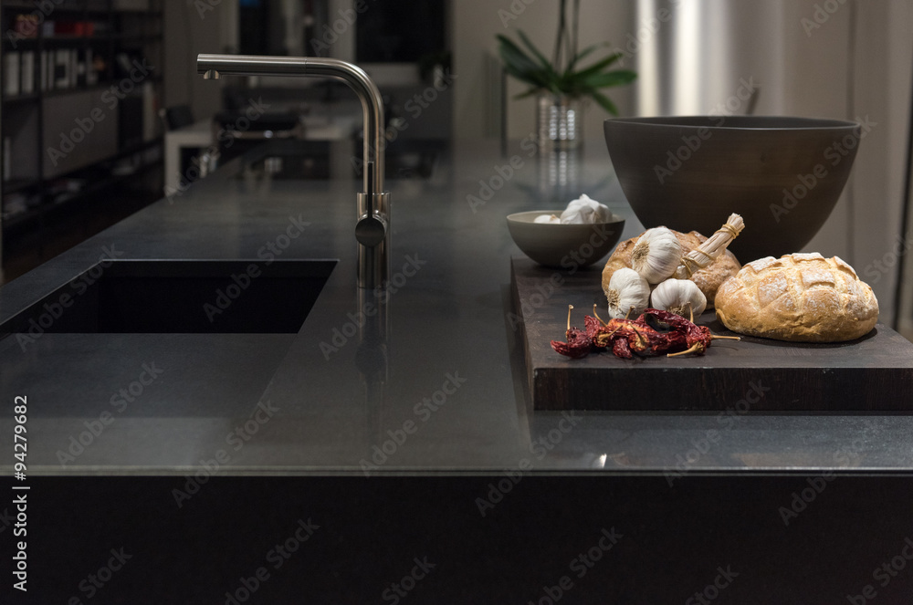 Fototapeta Black Granite Kitchen