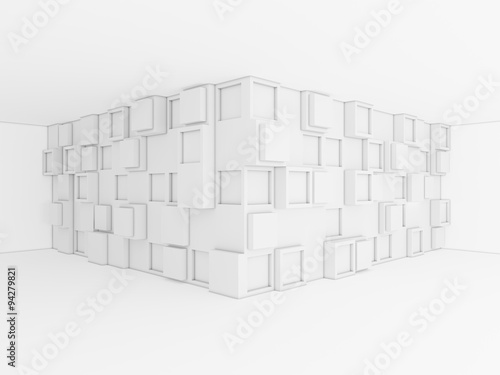 Abstract 3d background with quadratic geometry in the corner