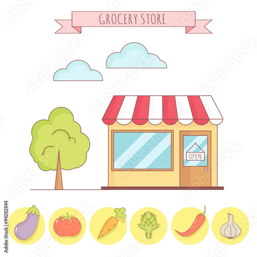 Vector illustration of grocery store with vegetable icons