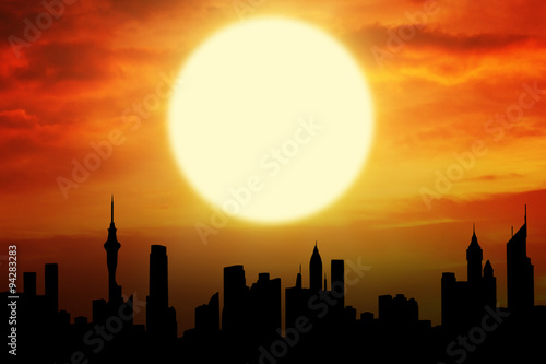 Fototapety, obrazy: Beautiful sunset with silhouette of skyscrapers