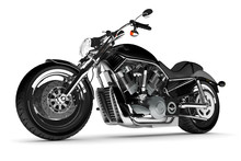 Black Motorcycle On A White Background.