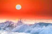 Wave Breaking At Sunrise