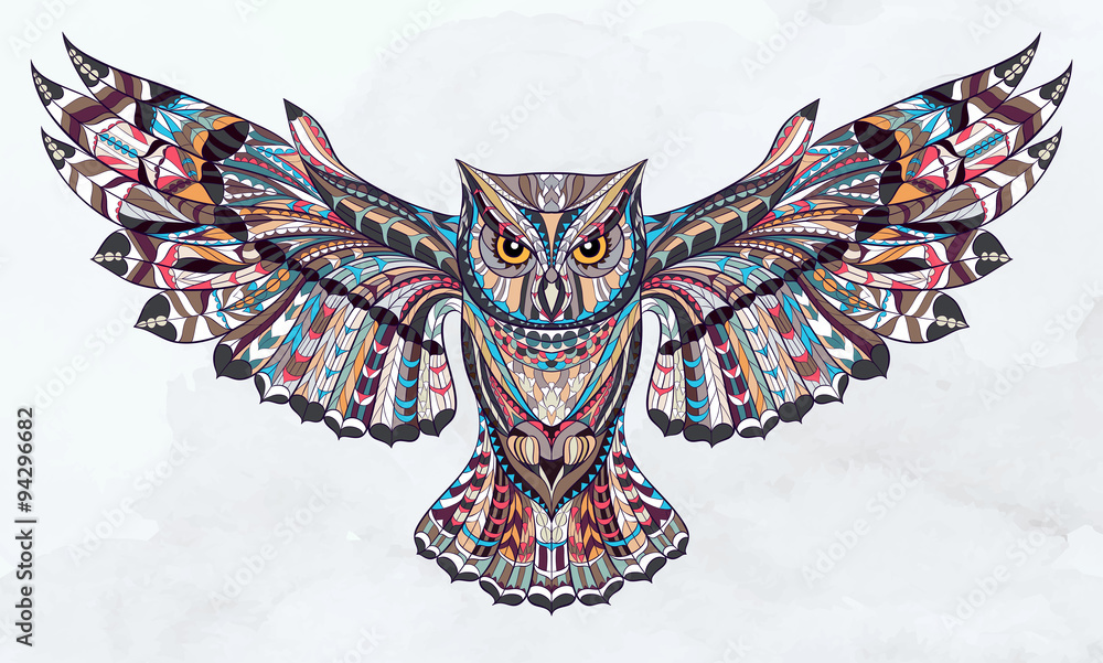 Fototapeta Patterned owl on the grunge watercolor background. African / indian / totem / tattoo design. It may be used for design of a t-shirt, bag, postcard, a poster and so on.