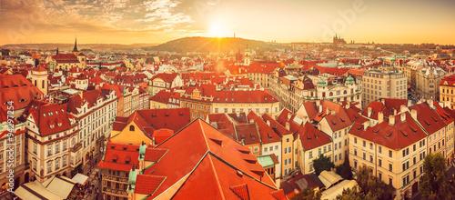 Staande foto Praag Panorama of red roofs skyline in Prague city Czech republic