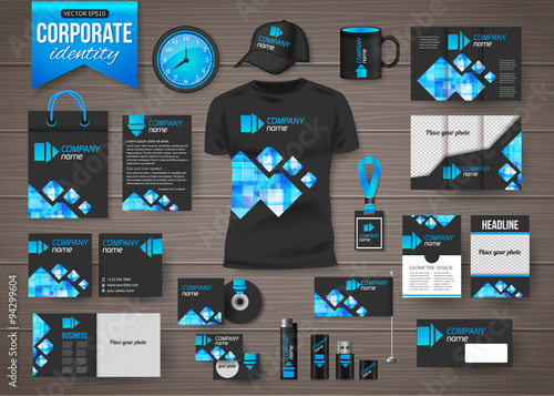 Fotografía  Corporate identity business photorealistic design template over
