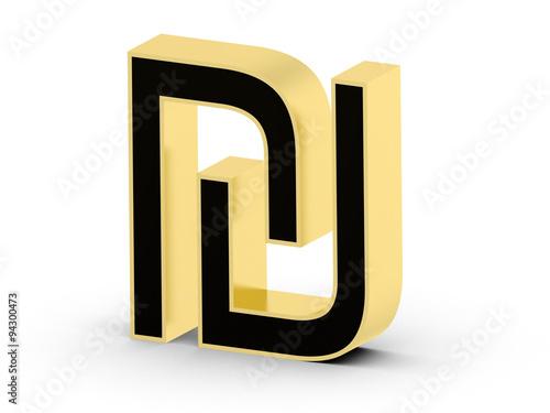 Golden Black 3d Shekel Currency Symbol Buy This Stock Illustration