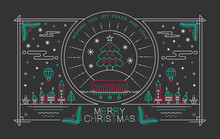 Merry Christmas Outline Poster Xmas Tree Snow City