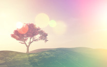 3D Tree Landscape With Retro Effect