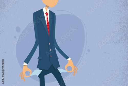 Fotografía  Businessman Show Empty Pocket, Turning Inside Out No Money