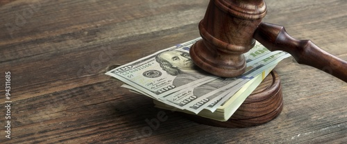 Judges Gavel, Soundboard And Bundle Of Money On The Table Canvas Print
