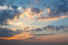 Amazing  Panoramic Background Of Real Sunrise Sky