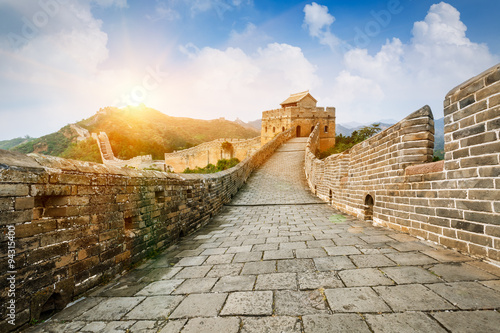 Great wall under sunshine during sunset,in Beijing, China