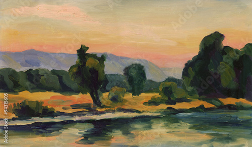 Poster Kaki Landscape summer. The trees on the Bank reflected in the river mountains in the background. Oil painting