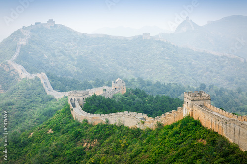 Photo  Great Wall of China in fog