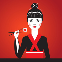 FototapetaClose-up vector portrait of Oriantal femme fatale in a black kimono eating sushi.