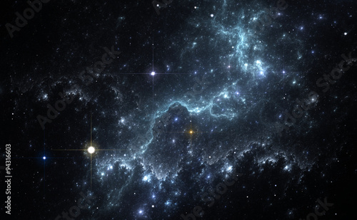 Photo Space background with blue nebula and stars