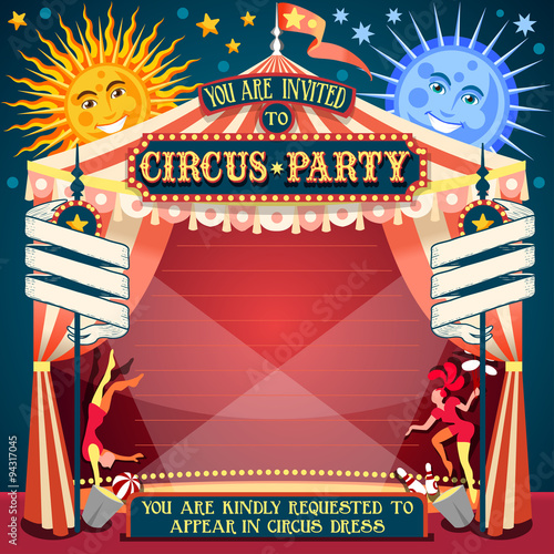 Circus Show Retro Template Party Invite Cartoon Poster Invitation Kid Birthday Carnival Festival Theme Background Acrobatics Cabaret Vintage Vector