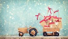 Geschenketraktor Im Winter