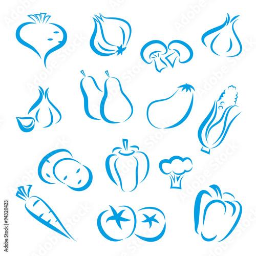 Fototapeta warzywa zestaw ikon wektor obraz