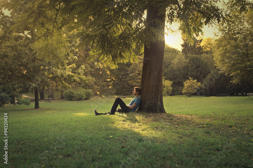 Fotografie, Obraz Man sitting under a pine tree