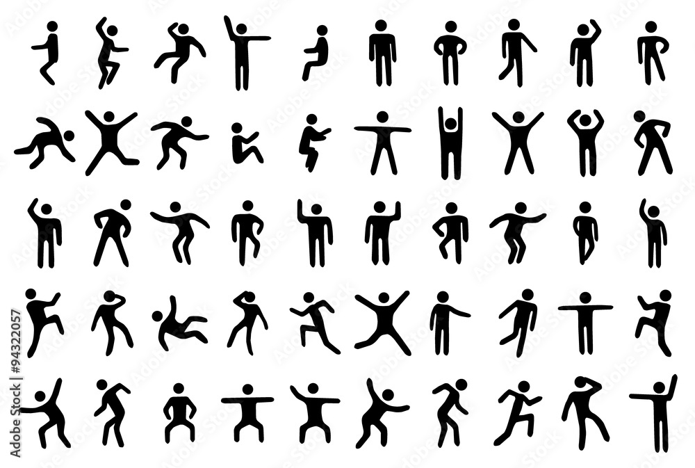 Fototapety, obrazy: 50 stick figure set