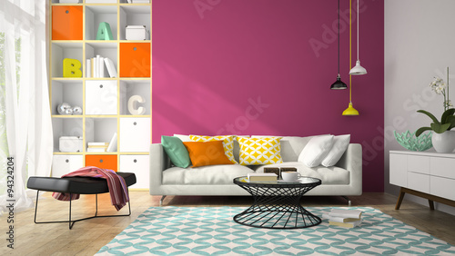 Interior of modern design room with purple wall 3D rendering 2 - Buy ...