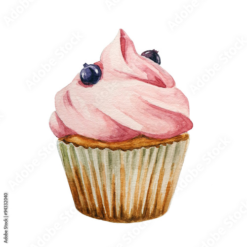 Photo  Watercolor cupcake, isolated