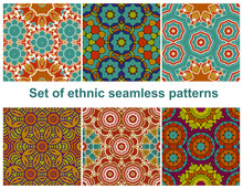 Set Of Six Colorful Geometric Patterns (seamlessly Tiling). Seamless Pattern