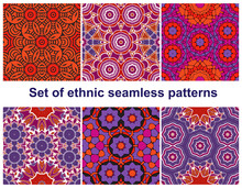 Set Of Six Colorful Geometric Patterns (seamlessly Tiling). Seamless.
