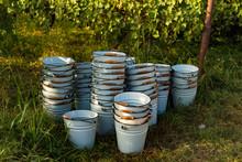Buckets On Traditional Vintage And Rural Harvest Holiday - Rtveli, Georgia