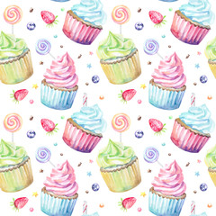 FototapetaSweet delicious watercolor pattern with cupcakes. Hand-drawn background. Vector illustration.