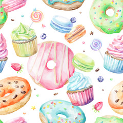 FototapetaSweet delicious watercolor pattern with macarons, cupcakes, donuts. Hand-drawn background. Vector illustration.