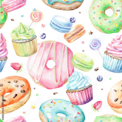 Materiał do szycia Słodkie pyszne akwarela wzór Makaronki, babeczki, pączki. Ręcznie rysowane tła. Ilustracja wektorowa.