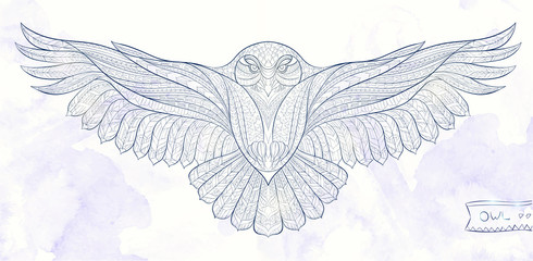 Patterned snowy owl on the grunge background. Indian / totem / tattoo design. It may be used for design of a t-shirt, bag, postcard, a poster and so on.