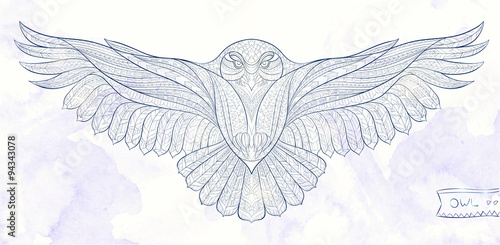 Photo Stands Owls cartoon Patterned snowy owl on the grunge background. Indian / totem / tattoo design. It may be used for design of a t-shirt, bag, postcard, a poster and so on.